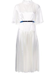 Toga Flutter Sleeve Pleated Dress White