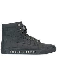 Philipp Plein Embossed Crocodile Effect Hi Top Sneakers Black