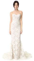 Reem Acra Angelica Lace Strapless Gown Cream Nude