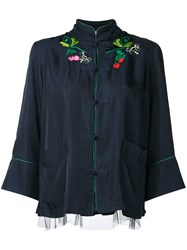 Muveil Embroidered Jacket Women Cupro Tencel 38 Blue