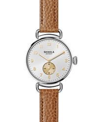 Shinola The Canfield 38Mm Alligator Strap Watch Dark Camel