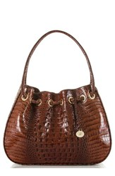Brahmin Amy Embossed Leather Drawstring Bucket Bag Brown Pecan
