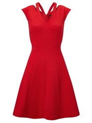 Adrianna Papell Cap Sleeve Textured Fit And Flare Dress Red