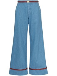 Gucci Web Trim Wide Leg Jeans 60