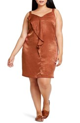 Elvi Plus Size En Arriere Drape Detail Camisole Dress Rust