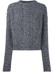 Carven Cable Knit Cropped Jumper Black