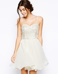 Chi Chi London Lace Bandeau Prom Dress With Embroidered Bust Cream