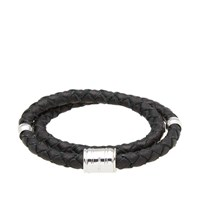 Miansai Silver Casing Leather Bracelet Black