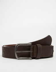 Asos Belt In Brown With Vintage Finish