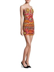 Moschino Embroidered Cotton Strapless Dress Red Multi