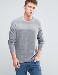 Esprit Knitted Jumper With Open Hem And Tonal Block Detail Grey