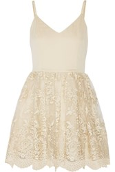 Alice Olivia Julianne Ballerina Crepe De Chine And Embroidered Tulle Dress