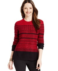 Karen Scott Petite Striped Crew Neck Sweater Only At Macy's New Red Amore