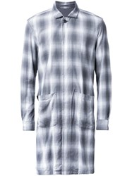 Attachment Long Plaid Coat Grey