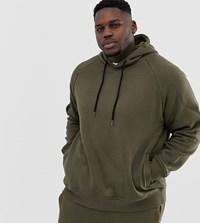 Another Influence Plus Ribbed Panel Overhead Hoodie Green