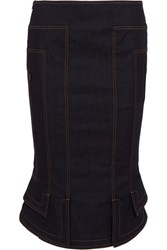 Tom Ford Fluted Denim Pencil Skirt Dark Denim