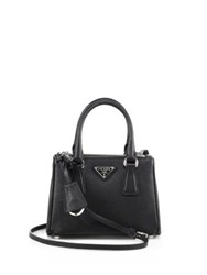 Prada Mini Saffiano Leather Double Zip Tote Black