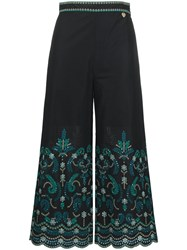 Twin Set Floral Embroidered Cropped Trousers Black