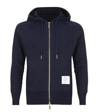 Thom Browne Cable Knit Zip Hoodie Male
