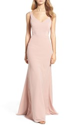 Jenny Yoo Women's Delaney Tie Back V Neck Gown Whipped Apricot