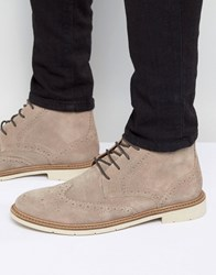 Tommy Hilfiger Metro Suede Lace Up Brogue Boots Stone