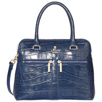 Modalu Pippa Mini Leather Grab Bag Denim Croc
