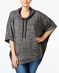 Styleandco. Style Co. Plus Size Melange Knit Poncho Only At Macy's Deep Black