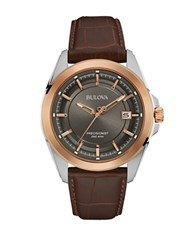 Bulova Precisionist Two Tone Stainless Steel Brown Leather Strap Watch 96B267