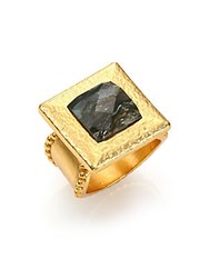Stephanie Kantis Flapper Labradorite Square Cocktail Ring Black