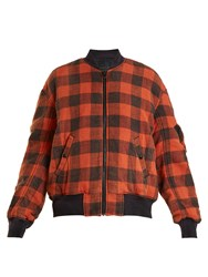 R 13 Reversible Checked Cotton Bomber Jacket Red Multi