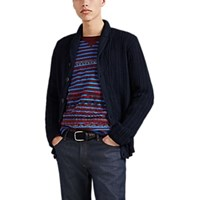Inis Meain Aran Knit Linen Cotton Button Front Cardigan Navy