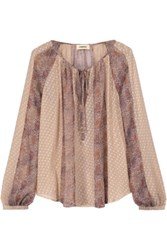 L'agence Pearl Printed Fil Coupe Silk Blend Blouse Multi