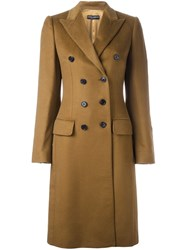 Dolce And Gabbana Double Breasted Coat Brown