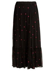 Jupe By Jackie Fuji Floral Embroidered Silk Chiffon Maxi Skirt Black