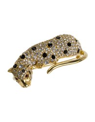 Kenneth Jay Lane Crystal Leopard Pin Gold