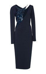Cushnie Et Ochs Larissa Long Sleeve Pencil Dress Navy