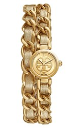 Women's Tory Burch 'Mini Reva' Double Wrap Chain Watch 20Mm Gold Gold