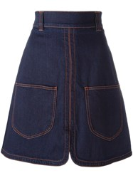 See By Chloe Patch Pocket Denim Skirt Blue