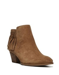 Franco Sarto Gerri Fringed Suede Ankle Boot New Cognac
