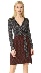 Diane Von Furstenberg Long Sleeve Mixed Wrap Dress Ferma