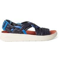 Malibu Missoni Canyon Two Tone Woven Faux Leather Sandals Blue