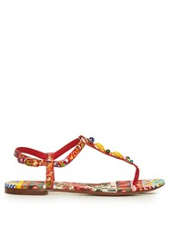 Dolce And Gabbana Majolica Print Leather Sandals Red Multi