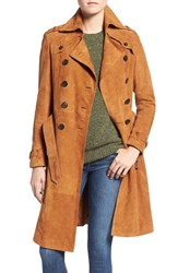 Rebecca Minkoff Women's 'Amis' Double Breasted Suede Trench Coat Camel