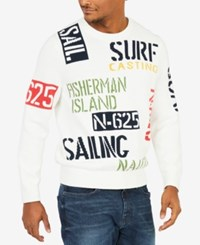 Nautica Men's Sail And Surf Graphic Print Intarsia Knit Sweater Marshmallow