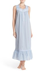 Women's Eileen West Embroidered Cotton Sleeveless Ballet Nightgown Solid Periwinkle White Floral