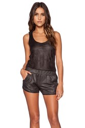 Monrow Perforated Leather Romper Black