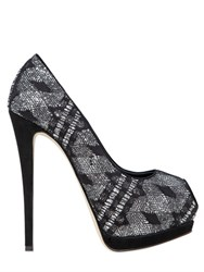Giuseppe Zanotti 130Mm Glitter And Lace Peep Toe Pumps
