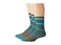 Wrightsock Adventure Crew 3 Pack Khaki Marl Teal Stripe Crew Cut Socks Shoes Blue