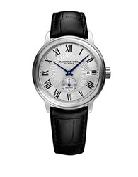 Raymond Weil Stainless Steel Crocodile Embossed Leather Strap Watch Black