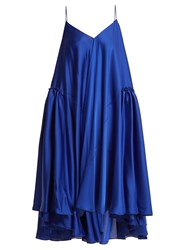 Maison Rabih Kayrouz Gathered Panel Charmeuse Dress Blue